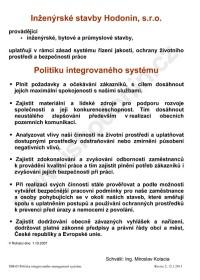 Politika integrovaného systému jakosti